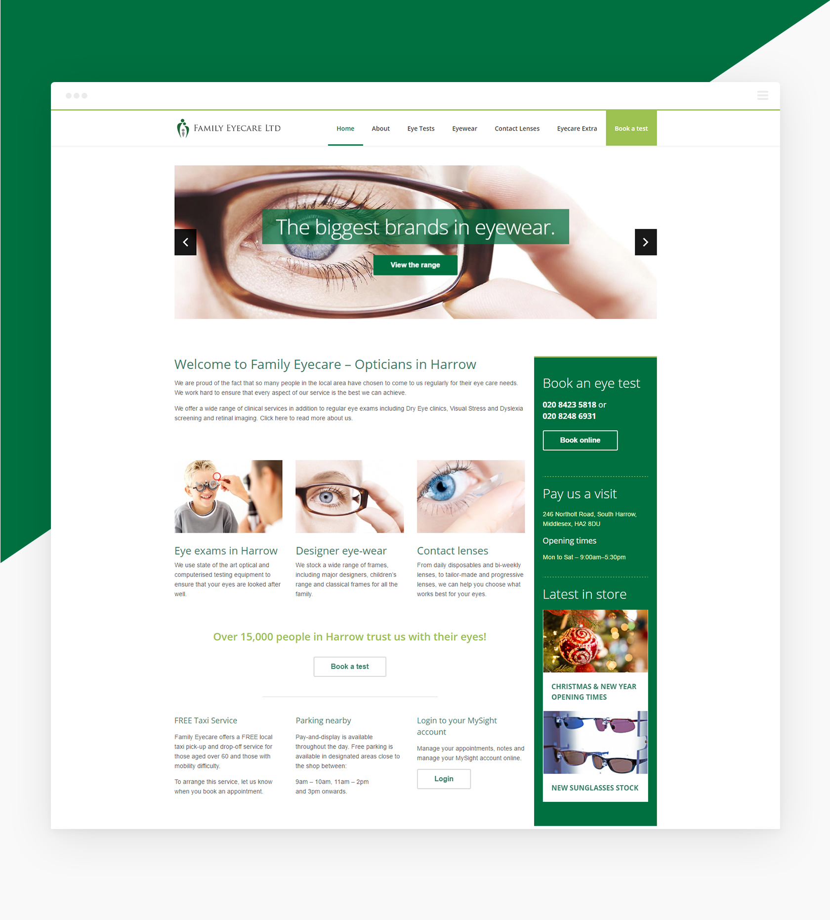 Family Eyecare Homepage - Family Eyecare - Creative Digital