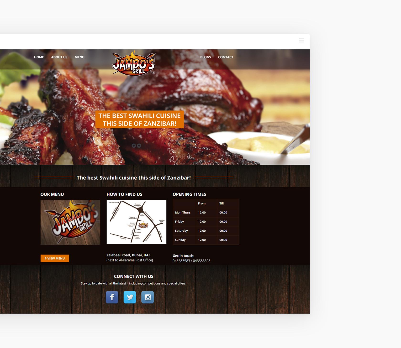 Jambos Grill Homepage - Jambo's Grill - Creative Digital