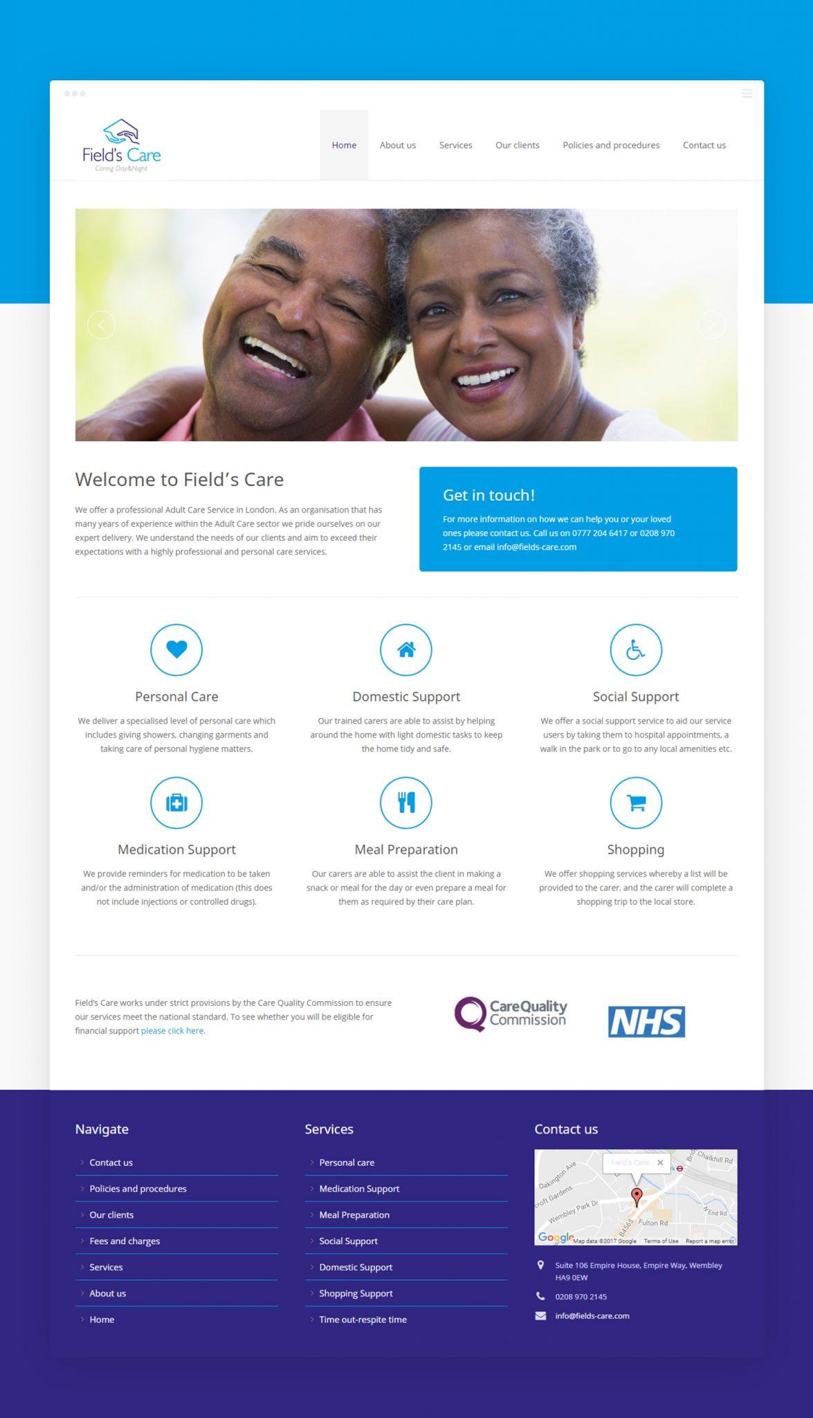 Fields Care Homepage - Fields Care (Website) - Creative Digital